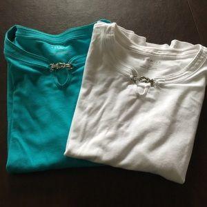Talbots T-shirt Set of 2 Blue/White w/Buckle XLP